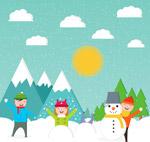 雪地玩耍的孩子