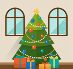 客厅里的圣诞树