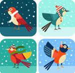 冬季卡通雪地鸟类