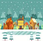 雪中小城建筑