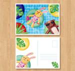 兔子和熊明信片