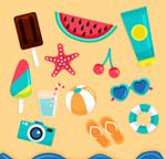 沙滩上的旅游物品