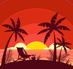 沙滩夕阳剪影矢量