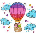 搭乘热气球的情侣