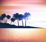 大海岛屿椰子树剪影