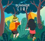 夏季野营人物