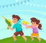 玩水枪的2个儿童