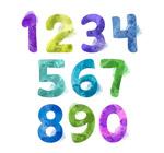 10款水彩绘数字