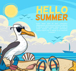 创意夏季沙滩海鸥
