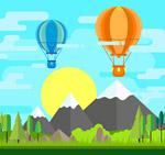 热气球风景矢量