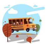 道路上行驶的校车