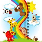 动物测量身高插画