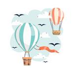 条纹热气球和鸟