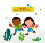 跑向学校的儿童