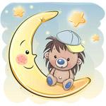 卡通月亮上的刺猥