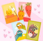 卡通动植物情侣卡片