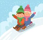 玩雪橇的2个孩子