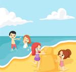 沙滩玩耍的孩子