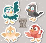 卡通冬季小鸟贴纸