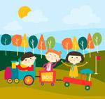 坐玩具火车的儿童