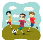 踢足球的男孩矢量