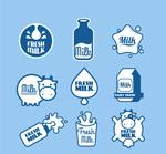 蓝色牛奶标签