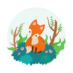 可爱森林狐狸