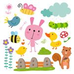 卡通动物和昆虫