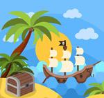 海盗船和宝箱插画
