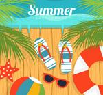 夏季沙滩木桥插画