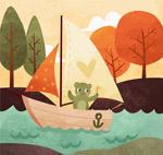 卡通乘帆船的熊
