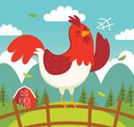 卡通打鸣的公鸡