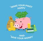 小猪存钱罐和钱币
