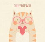 怀抱爱心的笑脸猫咪