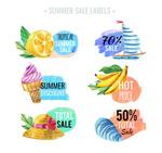 水彩绘夏季销售标签