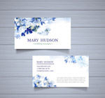水彩绘蓝色花卉名片