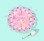 彩色花朵生日蛋糕
