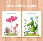 彩绘可爱动物卡片