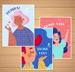 卡通人物感谢卡片