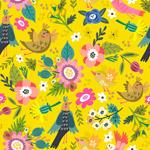 春季花鸟无缝背景
