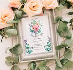 玫瑰花和婚礼邀请相框