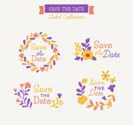 彩色花卉婚礼标签
