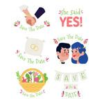 手绘婚礼元素标签