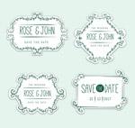 清新花纹婚礼标签