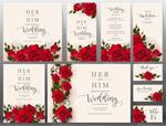 红玫瑰婚礼卡片