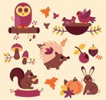 卡通秋季动物矢量