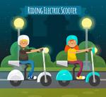 骑电动车的2个孩子