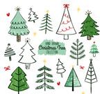手绘圣诞树矢量
