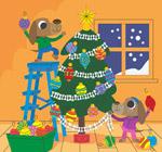 装饰圣诞树的狗
