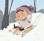 坐雪橇滑雪的男孩